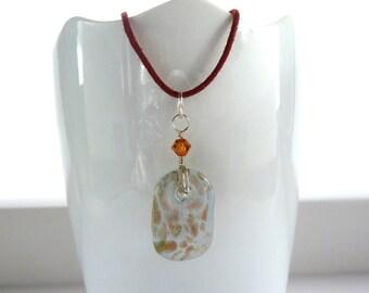 glass pendant necklace -- Copper flecked glass pendant necklace on brown cord with smokey topaz swarovski crystal