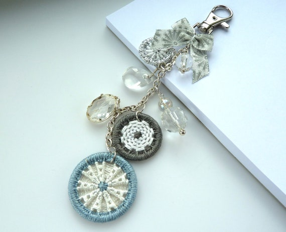 bag purse charm -- Dorset button charm for handbag, purse or key in grey, white and silver
