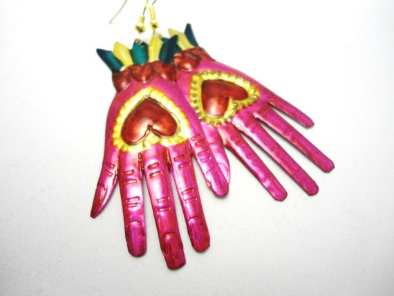 Mexican Hands Tin Earrings