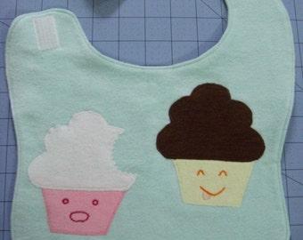 Naughty Cupcake Flannel Baby Bib