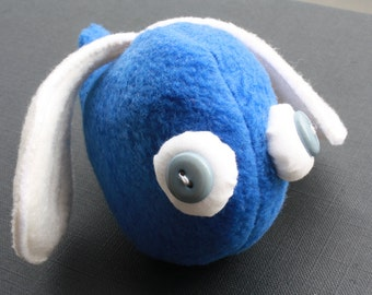 SALE - 50% OFF - beady-eyed flying blue scrap monster