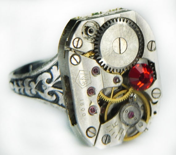 Women's STEAMPUNK Ring Jewelry - Watch Movement TORCH SOLDERED - Russian Pin Striped w/ Ruby Swarovski Crystal & Floral Etched Band