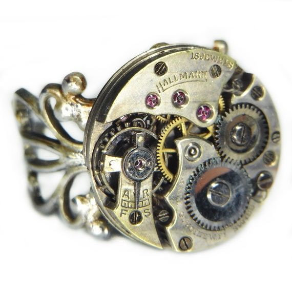 Women's STEAMPUNK Ring Jewelry - Watch Movement TORCH SOLDERED - Hallmark Circular w/ Patina, Pin Striping & Elegant Antique Silver Band