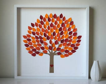 Personalized Wedding Guest Book, Unique Wedding Guestbook Alternative - 3D Wedding Tree - Fall Leaves - MED - For 150 guests