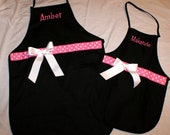 Mommy and Me Apron Mother Daughter - Monogrammed Apron - Womens and Childrens Aprons - Personalized Apron Monogrammed - Mom and Daughter Set