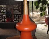 Mid Century Modern Orange Atomic Era Ceramic Table Lamp