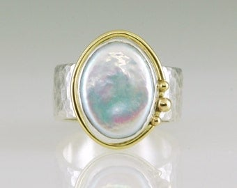 Pearl Sterling and 18k Gold Forged Ring
