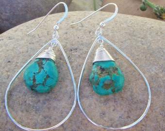 Turquoise Teardrop Earrings - Sterling Silver Turquoise Earrings - Small Dangle Earrings - Handmade - Four Sizes
