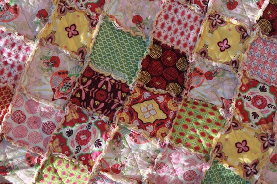 Baby Girl Rag Quilt - Mission View  Yellow, Pink Nursery Ready To Ship