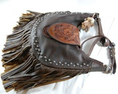Hand Tooled Fringed Leather Purse