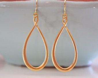 Gold Earrings, 16k Gold Plated Teardrop, Bridesmaid Jewelry, Boho Jewelry, Boho Earrings Best Friend Gifts Dangle Earrings festival jewelry