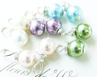 Hand wrapped bead dangles pearl bead dangles, jewelry charms, handwrapped bead dangles