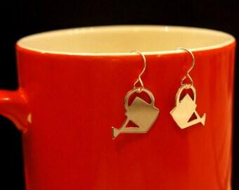 Watering can silver earrings