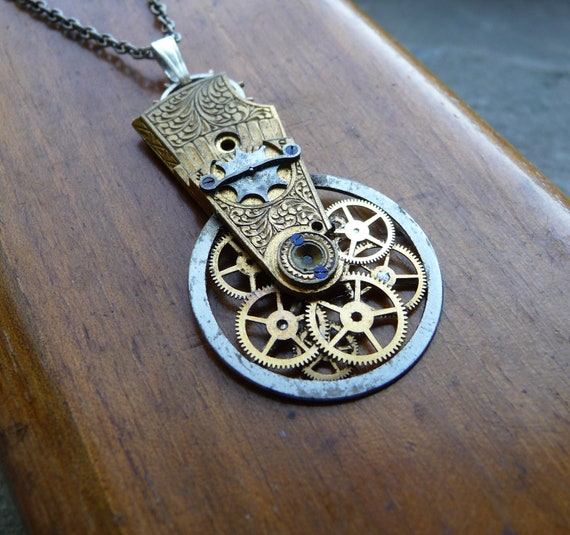 """Clockwork Pendant """"Retrograde"""" Recycled Mechanical Watch Gears and Intricate Parts Sculpture Not Quite Steampunk Assembly Necklace"""