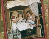 Let's Play House - HANDMADE Vintage COLLAGE Greeting Card  (Item 121)