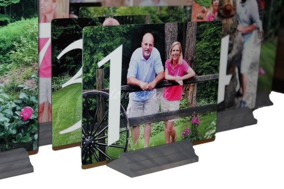 WEDDING TABLE NUMBERS-5X7 Metal Personalized  Wedding Table Numbers - Custom dispays make great Centerpieces-Place Cards