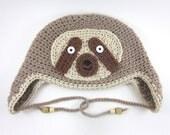 Sloth Hat (crochet ear flap animal beanie)