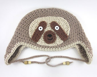 Sloth Hat (crochet ear flap animal beanie)