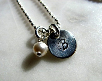 Sterling Silver Hand Stamped Charm Necklace with Pearl