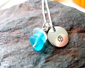 Sterling Silver Charm Necklace with Sea Glass Charm