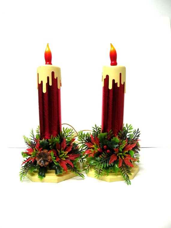 Sale Set Vintage Christmas Candle Lights By Casualhomestyle