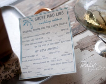 Beach Wedding Mad Libs A Guest Book Alternative