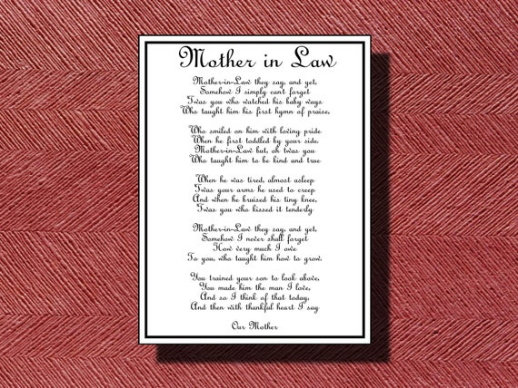 Daughter In Law Personalized Poem: Wedding Day Mother-in-Law Poem DIY Printable