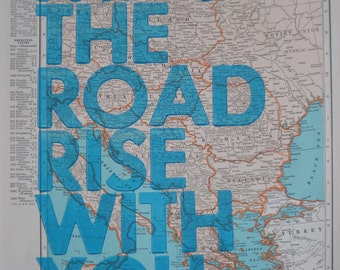 Central Europe/ May The Road Rise With You/ Letterpress Print on Antique Atlas Page