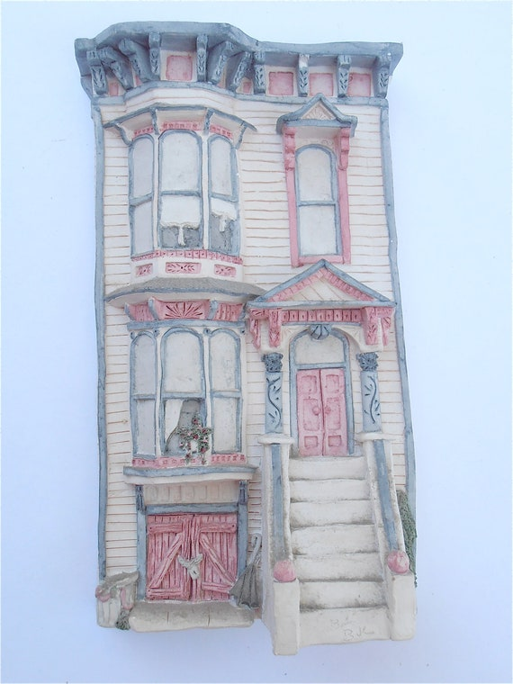 Vintage Brian Baker Deja Vu Collection 1545 Italianate Victorian House San Francisco Old House Figurine Shabby Cottage Chic Figurine Statue