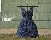 The Katie Dress - Short, Navy Blue and White Polka Dot Chiffon Dress