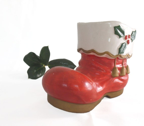Little Black Lipstick Cheap Dollar Store Christmas Decor: Vintage Christmas Decorations SANTA BOOT Vase Holiday Decor