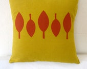 pillow cover - 14 x 14 mid-century modern yellow with orange applique leaves