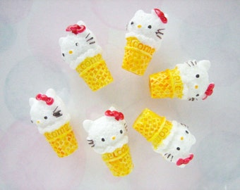 6pcs - Kitty Ice Cream Decoden Cabochon (22mm) HKF10001