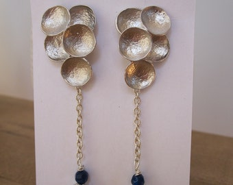 Silver and blue cloud bubble long sparkly dangle earrings