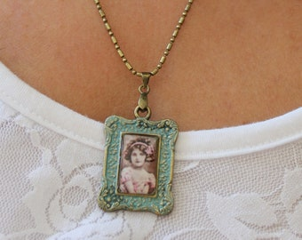 Cameo charm necklace in patina