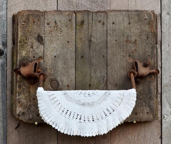 Silo Door Antique Barn Wood Cast Iron Towel Bar Rack Rustic Primitive