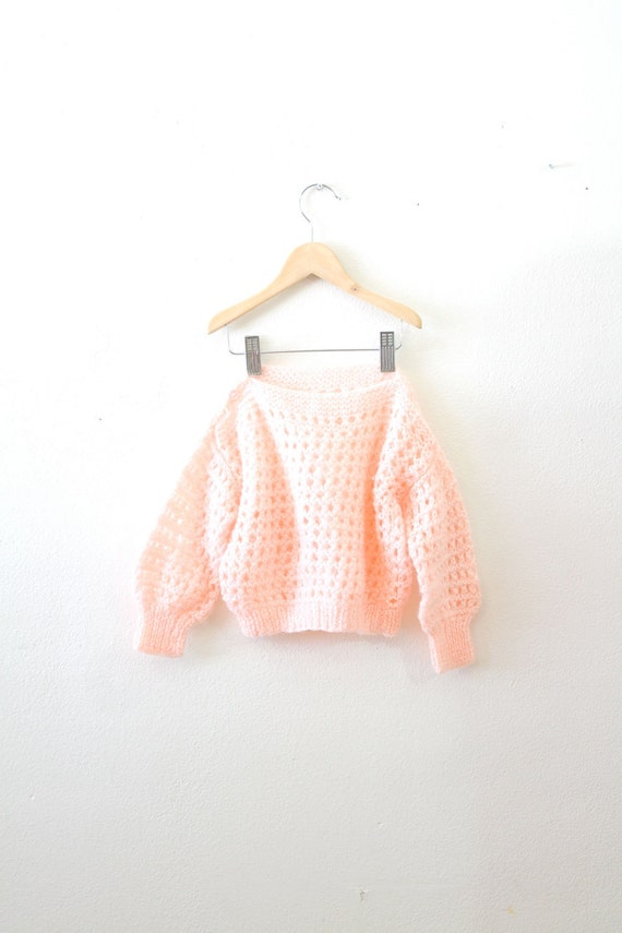 On Reserve: Vintage peach crochet knit little girl's sweater