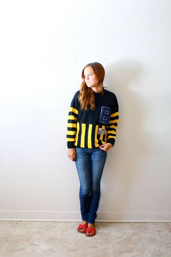Vintage letterman B stripe yellow sweater