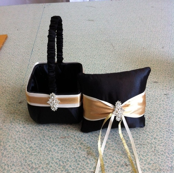 Black  with Ivory  and Gold  Flower Girl Basket and Ring bearer Pillow with Bling