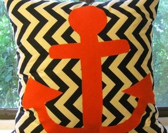 black white anchor orange pillow cover 22 X 22