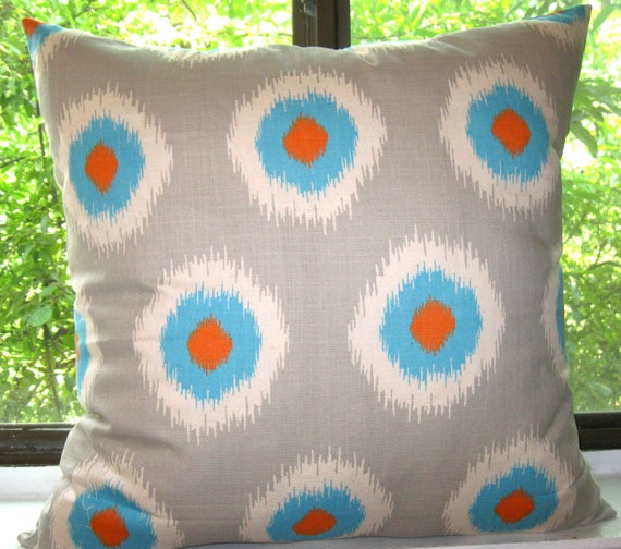 Premier Prints Ikat Domino Dossett Mandarin pillow cover 18 X 18