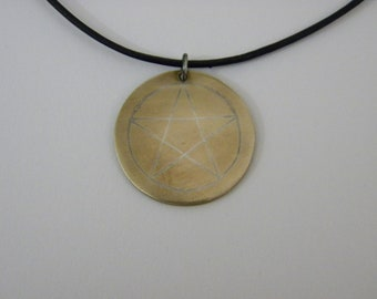 Bronze pendant with Sterling Silver Star inlay