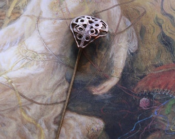 Vintage Brass Openwork Filigree Stick Pin