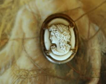 Vintage Old Brass and Art Glass Cameo UPCYCLED Pin Brooch