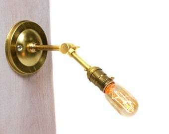 Brass Adjustable Straight Arm Bare Bulb Vintage Style Paddle Key Socket Wall Sconce