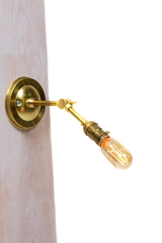 Brass Adjustable Straight Arm Bare Bulb Vintage Style Paddle Key Socket Wall Sconce