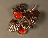 Fire Opal Magic Pumpkin Brooch in Sterling Silver