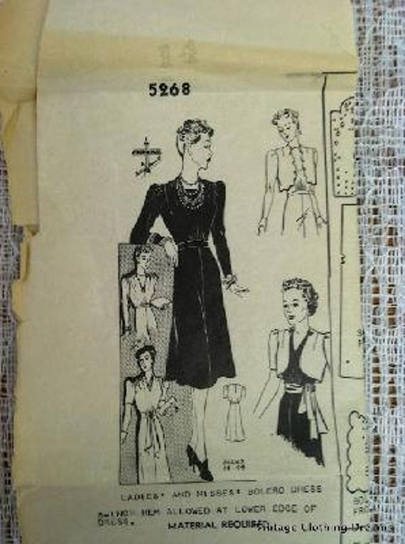 30s 1930s Dress Designer Vintage Sewing Pattern 5268 Ladies Misses 40s 1940s Bolero Dress 34 Bust Gatsby Art Deco COMPLETE 7-85