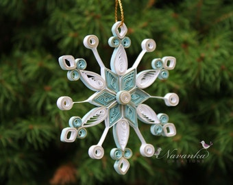 Paper Quilled Snowflake Ornament in White and Blue with a Touch of  Gold