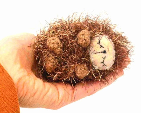 hedgehog amigurmi plush sleeping sleepy stuffed animal baby gift pouch brown beige felt ready to ship